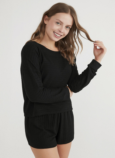 Penti Kadın Siyah Cool Night  Sweatshirt PNNUA7E421IY Siyah